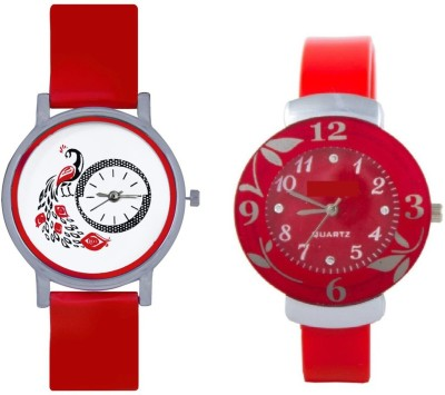 INDIUM NEW RED FLOWER WATCH FANCY FLOWER LOVER SPECIAL WITH ANIMAL PEACOCK WATCH FROM PLANET ZONE Watch  - For Girls   Watches  (INDIUM)
