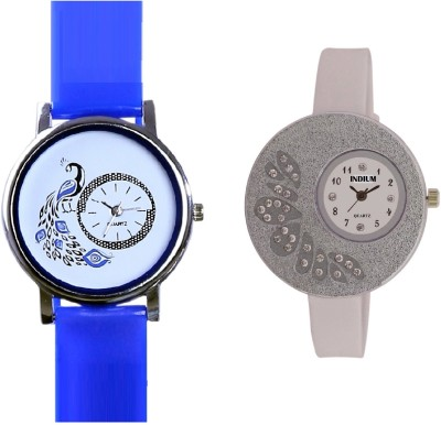 INDIUM NEW LATEST DESIGN WHITE WATCH WITH COMBO PEACOCK SHAPE OR DESIGN WATCH LATEST COLLECTION FROM PLANET ZONE Watch  - For Girls   Watches  (INDIUM)