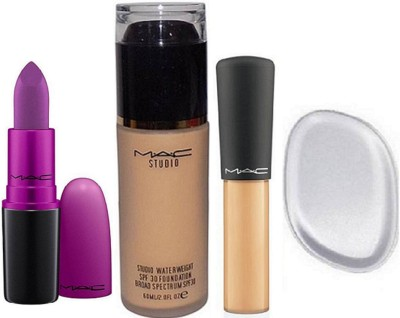 Imported Combo Silicon Puff&Mac Mineralize Concealer Cache Cernes,Studio Water Weight Broad Spectrum Foundation&Heroin Lipstick(Set of 4)  available at flipkart for Rs.1600