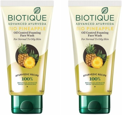 Biotique Bio Pineapple Oil Control Foaming (Pack of 2) (150*2=300) Face Wash(150 ml)