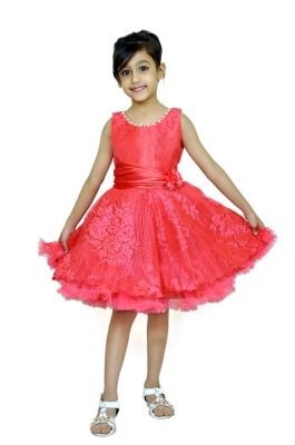 Purple Princess Girls cute knee length frock for casual ocassions Girls Midi/Knee Length Casual Dress(Red, Sleeveless)