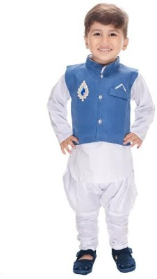 Beekay Boys Festive & Party Kurta, Waistcoat and Pyjama Set(Blue Pack of 3) Flipkart