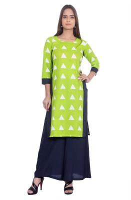 AANIA Casual Printed Women Kurti(Green)