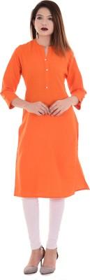 Blezza Casual Solid, Embroidered Women Kurti(Orange)