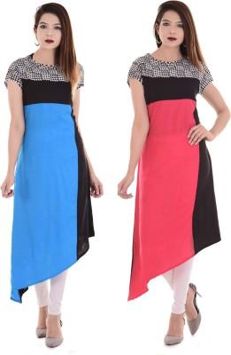 Blezza Casual Self Design Women Kurti(Pack of 2, Multicolor)