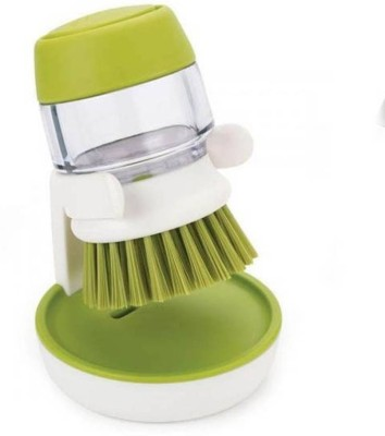 Simxen Cleaning Brush With Liquid Soap Dispenser Palm Brush With Storage Stand, For Kitchen Bathroom Tiles Dishwashing, Self Dispensing Home Cleaning Set Sink Sponge Holder(Plastic)  available at flipkart for Rs.399