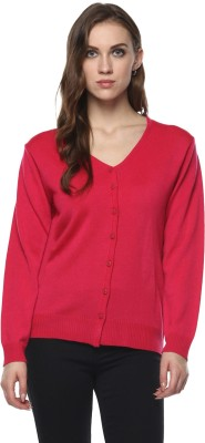 Modeve Solid V-neck Casual Women Pink Sweater