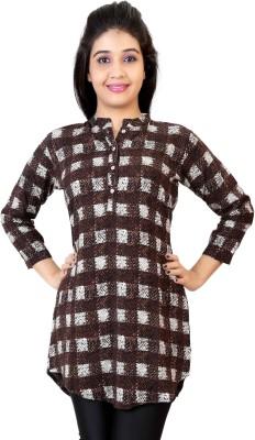 Carrel Casual Regular Sleeve Checkered Women White, Brown Top