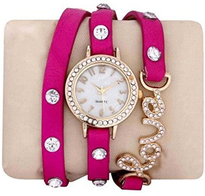 True Colors New Pink Stylish Braclet Belt With Stone With 1 YEAR WARRANTY Analog Watch  - For Girls