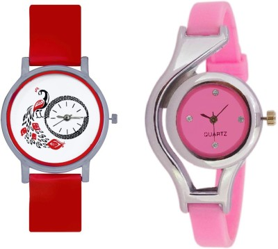 INDIUM NEW PINK RING WATCH FANCY LOOKING ELEGATE WATCH WITH NEW DESIGN PEACOCK WATCH COMBO WATCH COLLECTION FROM PLANET ZONE Watch  - For Girls   Watches  (INDIUM)