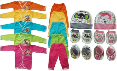 Sonpra Newly Born Baby Soft Cotton Full Sleeves Jhablas Pajamas Multicolor Printed Caps Mittens Booties Baby Dress Combo Set ( 0 - 3 Months )(Multicolor)
