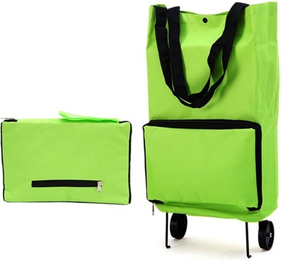 BANQLYN Foldable 2 Wheel Shopping Trolley, Lightweight Folding Travel Bag Trolley(Multicolor, 12 L)  available at flipkart for Rs.999
