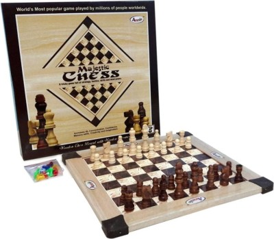 Royal Collections Majestic Wooden Chess Board and Wooden Chessmen Board Game Board Game  available at flipkart for Rs.499