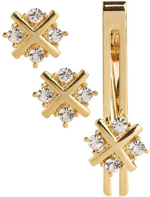 Miami Gold, Brass, Crystal Cufflink & Tie Pin Set(Gold, White)