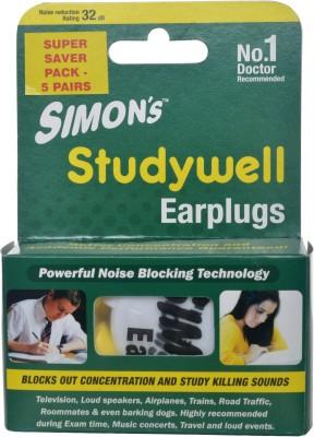 Simons STUDYWELL SUPER SAVER PACK - 5 PAIR FOAM EAR PLUG Ear Plug(Yellow)