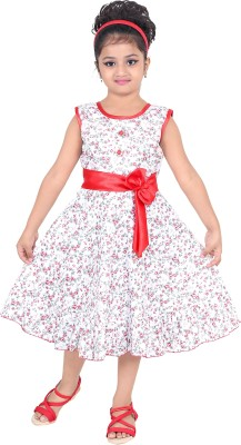 N BAHUBALI Girls Midi/Knee Length Casual Dress(Red, Sleeveless)