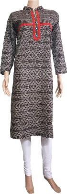 nazya creations Printed Women Straight Kurta(Grey)