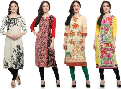 Envy 9 Casual Printed Women Kurti(Pack of 4, Multicolor)
