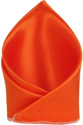 Hind Home satin Orange Solid Satin Pocket Square