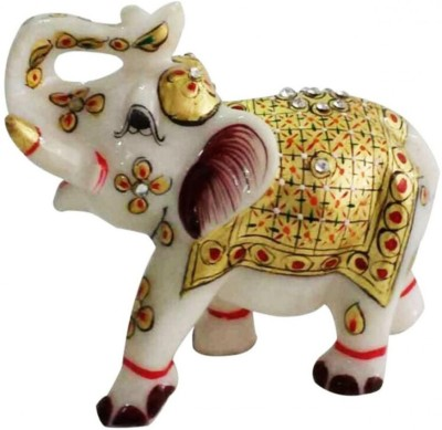57 OFF On DI KRAFT Beautifully Hand Crafted Marble Elephant Statue Idol With Meenakari Work Home Decor Set Of 1 Decorative Showpiece