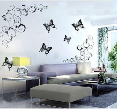 Happy walls Artistic Vines With Butterflies(90 cm X cm 120, Black)