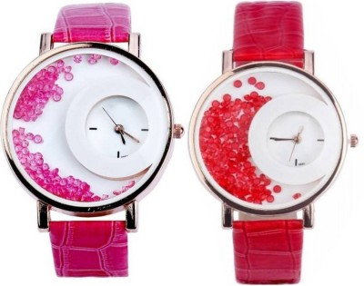 piu collection PC _MAXRE Half moon Pink & Red Diamond Bead Watch For Girls Watch  - For Girls   Watches  (piu collection)