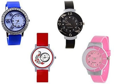 Talgo New Arrival Red Robin Season Special RR312BU301RD239PK324PK 2018 Special Collection For Combo Of 4 312-Blue Butterfly in Round Dial & Rubber Strep And 301-Red Peacock Design in Round Dial & Rubber Strep , 239-Black Flower Round dial & Black Rubber Strep , 324-Pink Round Dial & Pink Rubber Stre