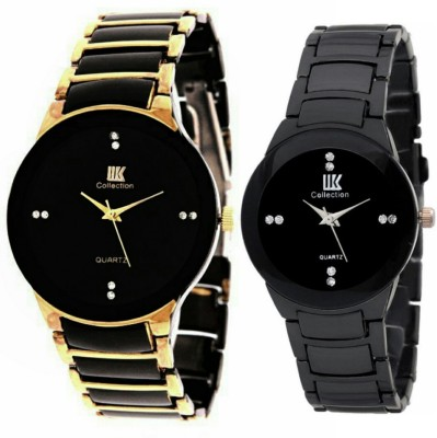 View IIK Collection 02 black gold men and woman watch for couple combo watch look like awsome and comfertable party wedding occasion and gifts etc...judge Watch  - For Men & Women  Price Online