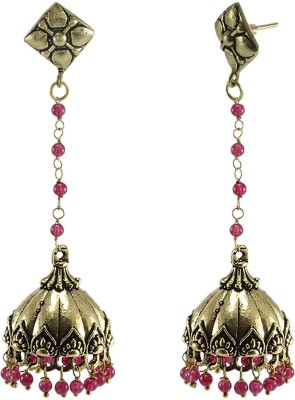 Silvesto India Tribal jewellery- And Pink Beads And Studs Jhumkas-Dome Shape Earrings-Jaipurn Jewelry Crystal Stone Jhumki Earring  available at flipkart for Rs.476