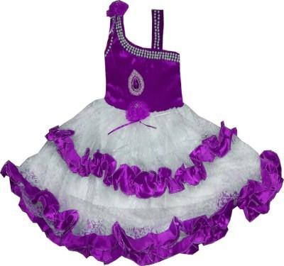 Kraft10 Girls Midi/Knee Length Party Dress(Purple, Sleeveless)