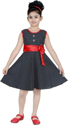 N BAHUBALI Girls Midi/Knee Length Casual Dress(Black, Sleeveless)