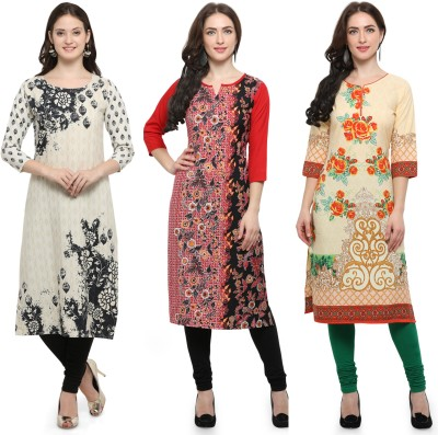 Envy9 Casual Printed Women Kurti(Pack of 3, Yellow, Multicolor, Red)
