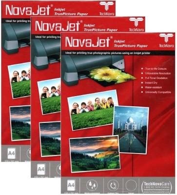 Novajet High Glossy Unruled A4 Photo Paper(Set of 3, White)