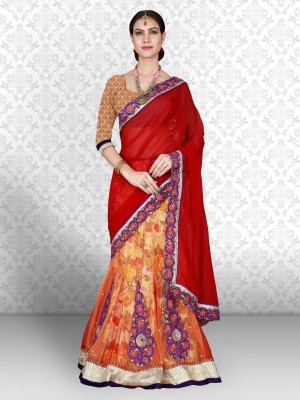 Divastri Embroidered Bollywood Cotton Blend Saree(Orange) at flipkart