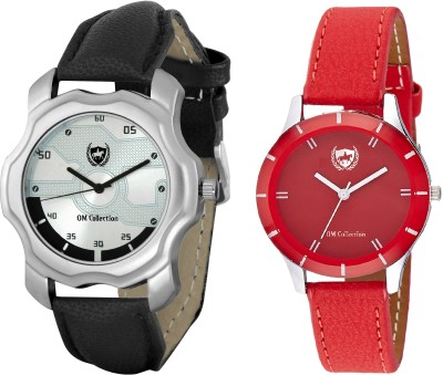 View Om Collection Couple watch combo set of Red and Silver colour with leather strap-omwt-90(Set of 2 Pcs) Watch  - For Men  Price Online