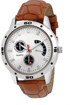 ReniSales Day Date Type chronograph Pattern Brown Leather Modish Style Mens Watch Watch  - For Boys  available at flipkart for Rs.169