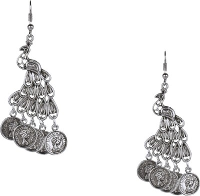 Shining Jewel 925 Antique Silver Oxidised Peacock Brass Dangle Earring  available at flipkart for Rs.311