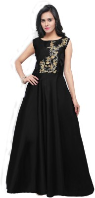 Active Silk Embroidered Semi-stitched Gown