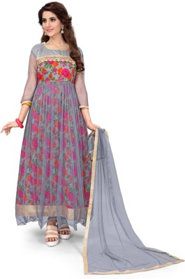 Active Art Silk Embroidered Semi-stitched Gown