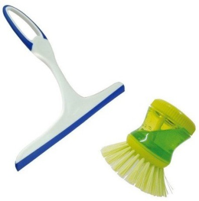 StyleWell Combo of Multi Purpose Soap Dispenser Dish Washer Brush for Kitchen Sink, Floor Cleaning Wet and Dry Duster And Non Scratch Glass Wiper Cleaner For Cleaning Window Windshield Windscreens Kitchen, Bathroom Tiles Mirrors Glass with Non-Slip Handle Home Cleaning Set  available at flipkart for Rs.199