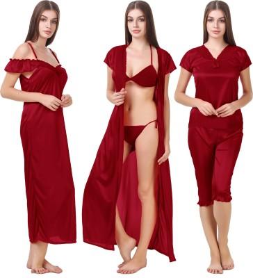 Bombshell Women Nighty with Robe, Top and Capri(Maroon)