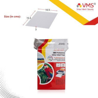 VMS Imperial Inkjet Paper High Glossy 4R (4x6) 210 GSM [100 Sheet] Photo Paper Unruled 4x6 Inkjet Paper(Set of 1, White)
