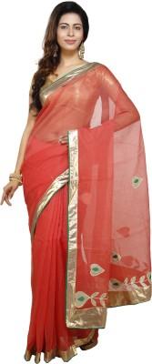 Jai Bholenath Fashions Embroidered Fashion Net Saree(Red) Flipkart