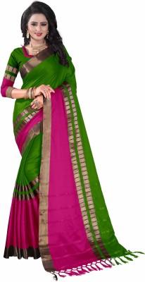 Bombey Velvat Fab Solid, Woven, Self Design, Embellished, Striped, Checkered, Applique, Paisley Kanjivaram Cotton Silk, Jacquard, Cotton, Silk Saree(Green)