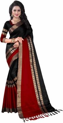 Bombey Velvat Fab Striped, Checkered Kanjivaram Cotton Silk, Jacquard, Cotton, Silk Saree(Multicolor)