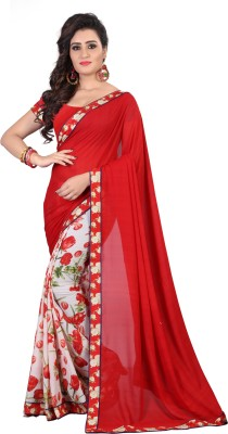 b46d28d8b3 View Payal Sarees Printed Fashion Faux Georgette Saree(Red) Price Online