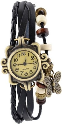 LEBENSZEIT Latest Fashion Fancy Beautiful Best Selling Quality Offer Deal Chepest Collection Designer Leather Strap Black Wrist Watch  - For Girls