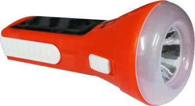 Sonashi Solar / AC DC rechargeable LED torch flashlight with glow beam| 1.5 - 3 Hours back up| Inbuilt wall plug charger | Solar panel| Hangable Solar Lights(Orange)  available at flipkart for Rs.395