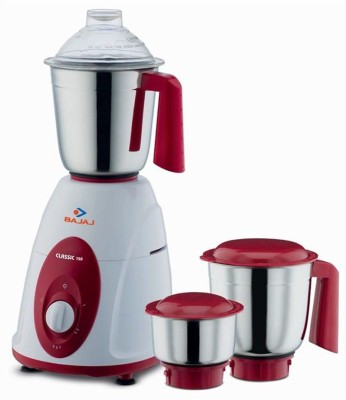 Bajaj Classic 750 W Mixer Grinder(white and red, 3 Jars)