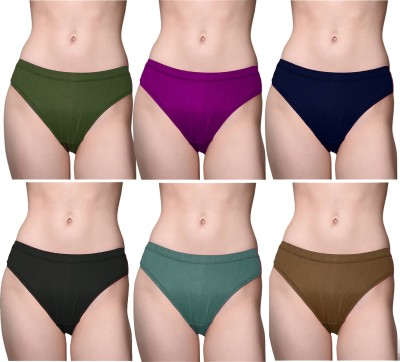roman Women Hipster Purple, Brown, Blue, Light Green Panty(Pack of 5)